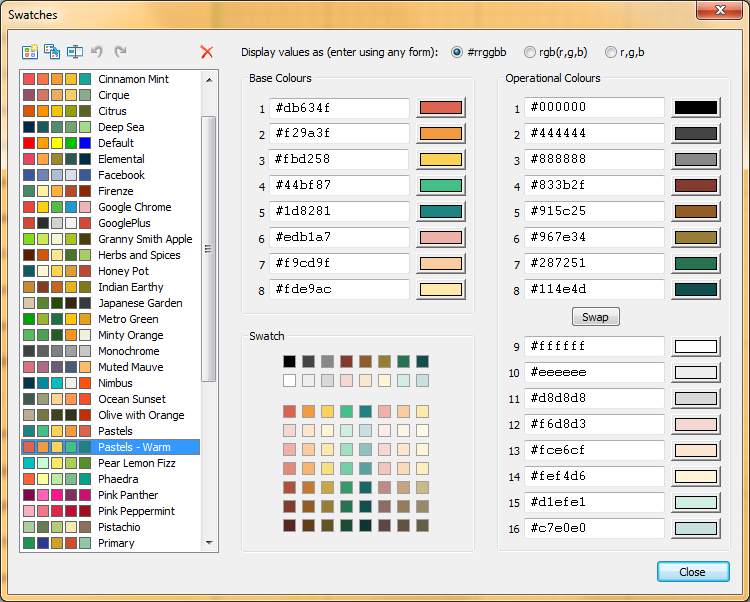 Colour Swatches Dialog