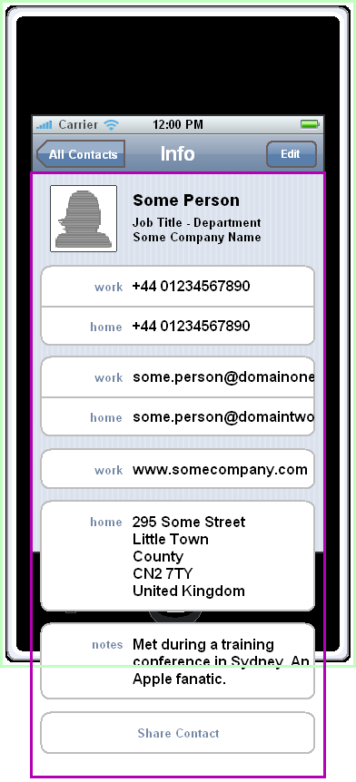 iPhone Contacts Application - Adding The Contact Info Component