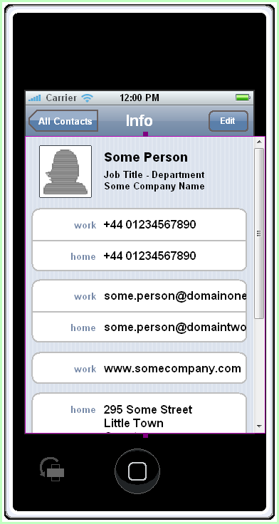 iPhone Contact Info Prototype Screen Design