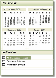 Horizons Application Calendar Panel Design